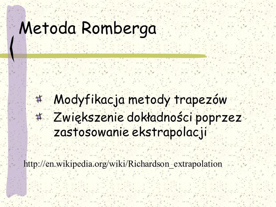 Metoda Romberga Modyfikacja metody trapezów Zwiększenie dokładności poprzez zastosowanie ekstrapolacji http://en.wikipedia.org/wiki/Richardson_extrapolation