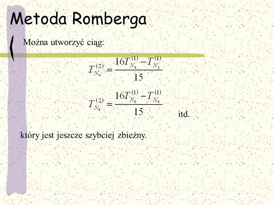 Metoda Romberga Można utworzyć ciąg: itd. który jest jeszcze szybciej zbieżny.