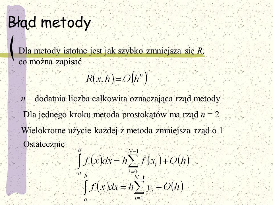Metoda Romberga Granice całkowania dzielimy na N części to Przybliżoną wartość całki określa wzór: Jeżeli krok zmniejszymy 2-krotnie: W ten sam sposób obliczmy: Jest oczywiste, że dla N otrzymamy wynik pozbawiony błędu metody.