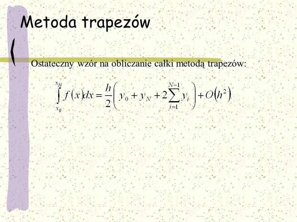 Metoda trapezów algorytm 1.Przeczytaj granice całkowania, x 0 i x N 2.Przeczytaj ilość podziałów N 3.Oblicz h = (x 0 - x 1 )/N 4.Oblicz y 0 i y N 5.Oblicz P = h/2(y 0 + y N ) 6.Przyjmij i = 1 7.Oblicz x i = x 0 +ih 8.Oblicz y i 9.Oblicz P = P + hy i 10.Zwiększ i o 1 (i=i+1) 11.Jeżeli i N-1 to idź do p.