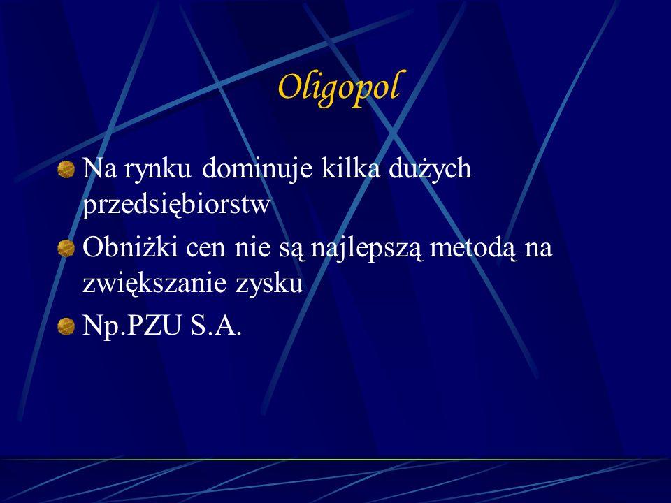 Oligopol Na rynku dominuje kilka dużych przedsiębiorstw Obniżki cen nie są najlepszą metodą na zwiększanie zysku Np.PZU S.A.