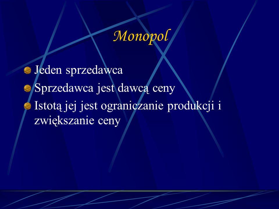 Monopol Jeden sprzedawca Sprzedawca jest dawcą ceny Istotą jej jest ograniczanie produkcji i zwiększanie ceny