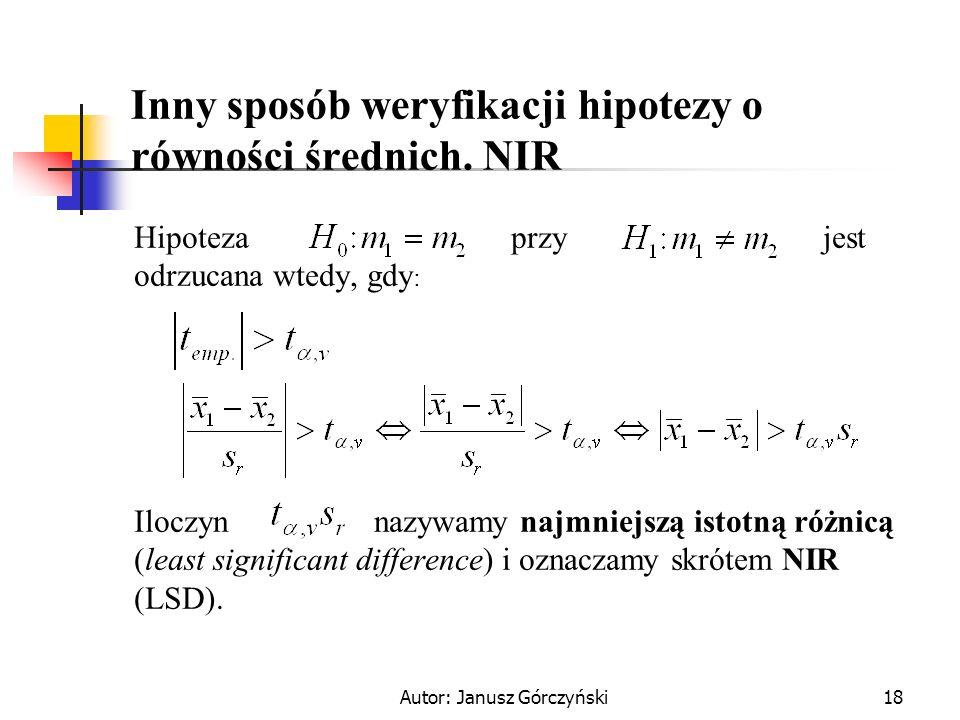 Autor: Janusz Górczyński18 Inny sposób weryfikacji hipotezy o równości średnich. NIR Hipoteza przy jest odrzucana wtedy, gdy : Iloczyn nazywamy najmni
