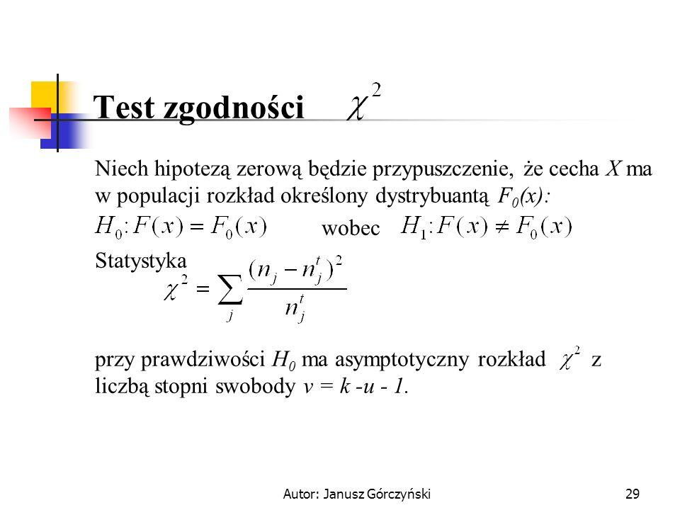 Autor: Janusz Górczyński29 Test zgodności Niech hipotezą zerową będzie przypuszczenie, że cecha X ma w populacji rozkład określony dystrybuantą F 0 (x