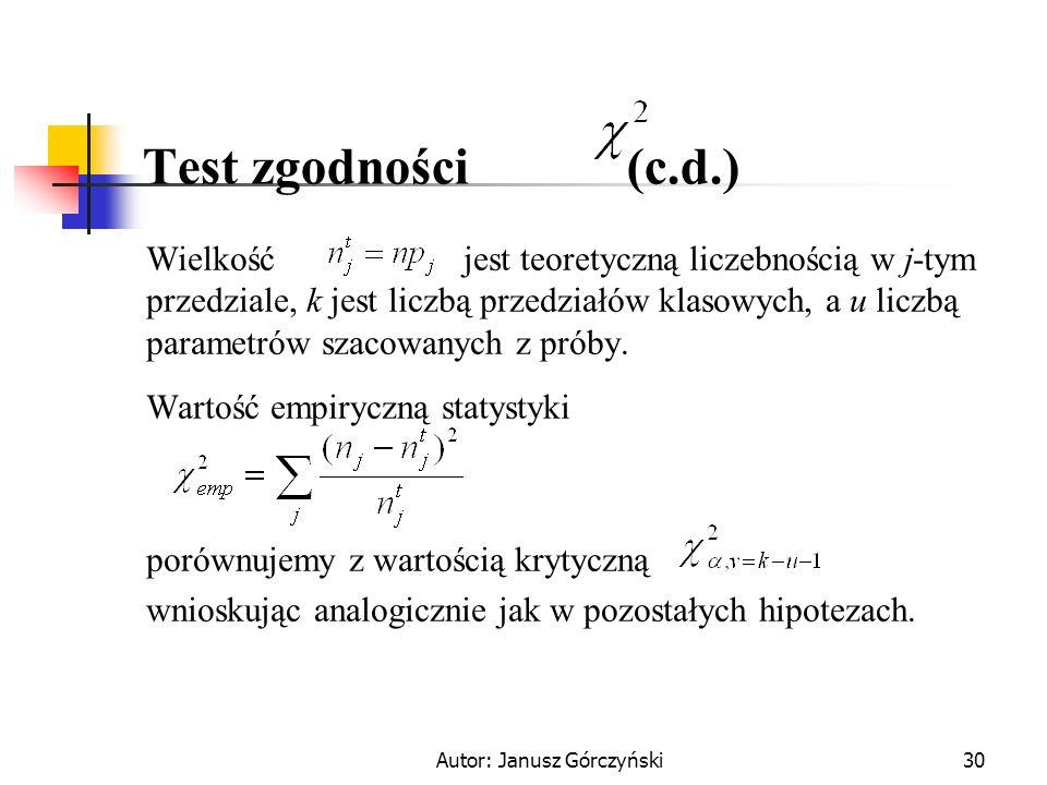 Autor: Janusz Górczyński30 Test zgodności (c.d.) Wielkość jest teoretyczną liczebnością w j-tym przedziale, k jest liczbą przedziałów klasowych, a u l