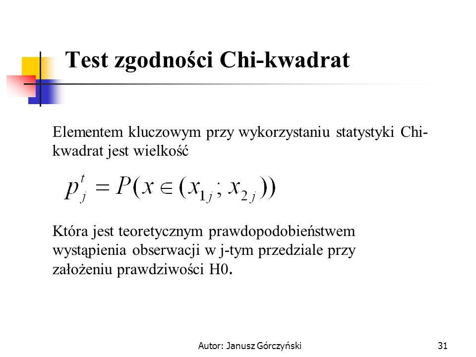 Autor: Janusz Górczyński31 Test zgodności Chi-kwadrat Elementem kluczowym przy wykorzystaniu statystyki Chi- kwadrat jest wielkość Która jest teoretyc