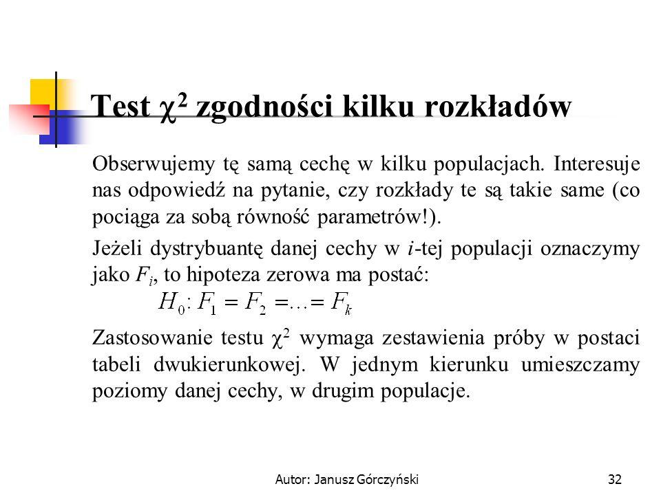 Autor: Janusz Górczyński32 Test 2 zgodności kilku rozkładów Obserwujemy tę samą cechę w kilku populacjach. Interesuje nas odpowiedź na pytanie, czy ro