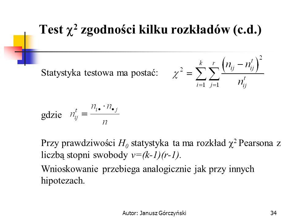 Autor: Janusz Górczyński34 Test 2 zgodności kilku rozkładów (c.d.) Statystyka testowa ma postać: gdzie Przy prawdziwości H 0 statystyka ta ma rozkład