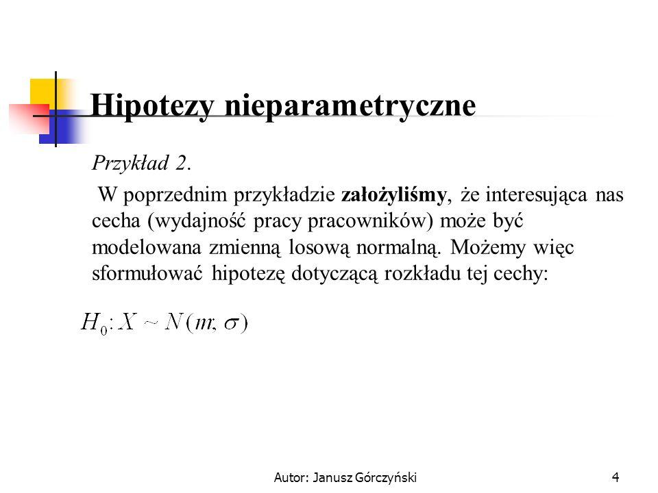 Autor: Janusz Górczyński4 Hipotezy nieparametryczne Przykład 2. W poprzednim przykładzie założyliśmy, że interesująca nas cecha (wydajność pracy praco