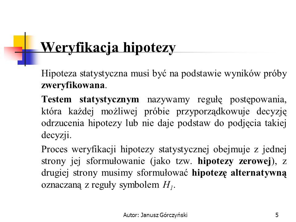 Autor: Janusz Górczyński5 Weryfikacja hipotezy Hipoteza statystyczna musi być na podstawie wyników próby zweryfikowana. Testem statystycznym nazywamy