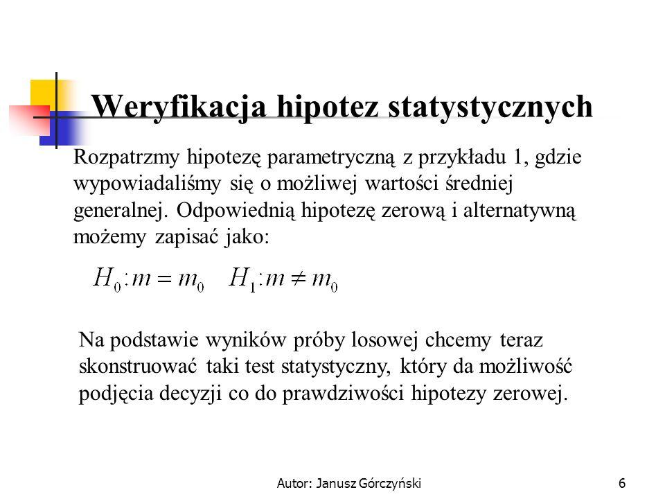 Autor: Janusz Górczyński6 Weryfikacja hipotez statystycznych Rozpatrzmy hipotezę parametryczną z przykładu 1, gdzie wypowiadaliśmy się o możliwej wart