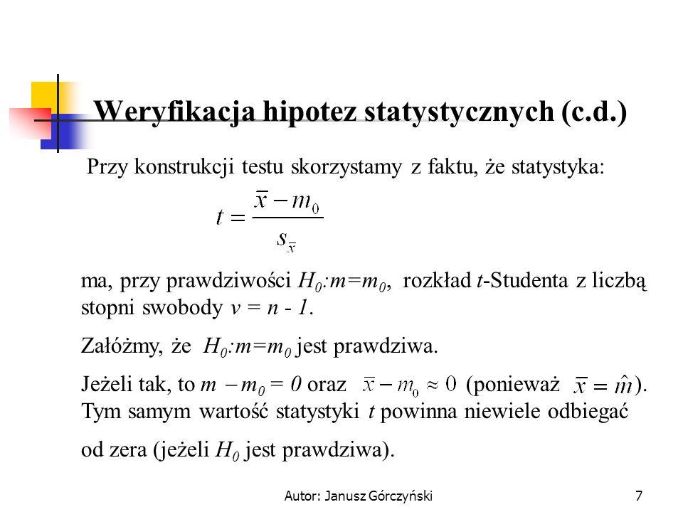 Autor: Janusz Górczyński8 Weryfikacja hipotez statystycznych (c.d.) W sytuacji, gdy wartości statystyki t będą odbiegać od zera dość znacznie, to powinniśmy zacząć wątpić w prawdziwość naszego założenia (o tym, że ).