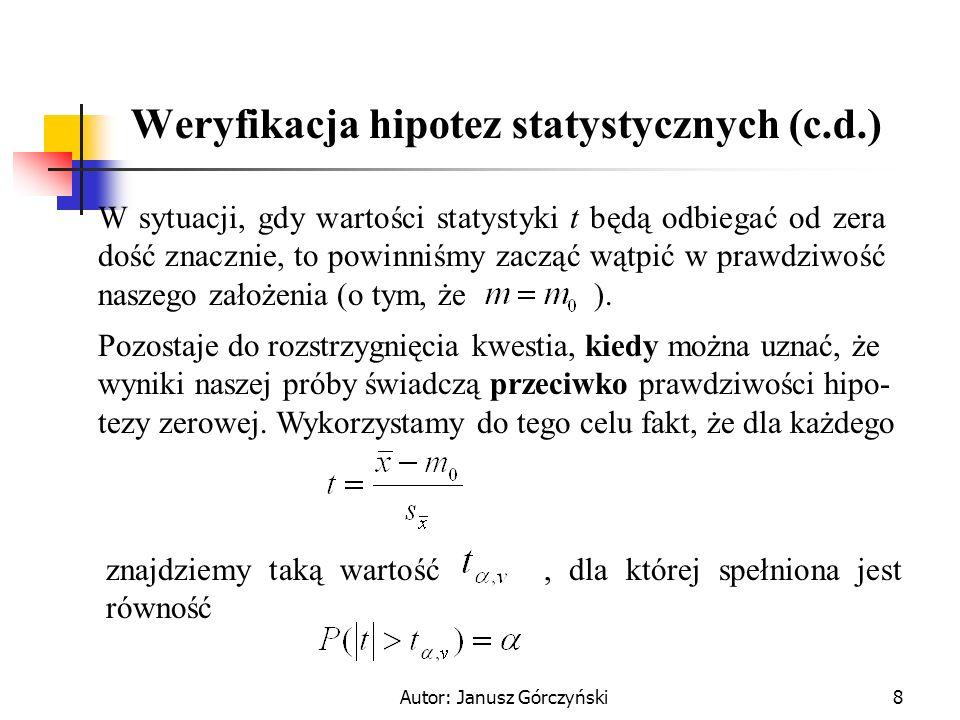 Autor: Janusz Górczyński9 Weryfikacja hipotez statystycznych (c.d.) Tym samym wartość wyznacza nam obszar krytyczny dla naszej hipotezy H 0 : Jeżeli wartość empiryczna statystyki t znajdzie się w tym obszarze, to H 0 musimy odrzucić jako zbyt mało prawdopodobną.