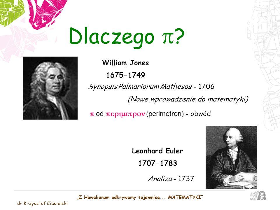 Dlaczego ? William Jones 1675-1749 Synopsis Palmariorum Mathesos - 1706 (Nowe wprowadzenie do matematyki) od (perimetron) - obwód Leonhard Euler 1707-