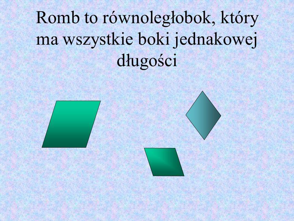 Romb to równoległobok, który ma wszystkie boki jednakowej długości