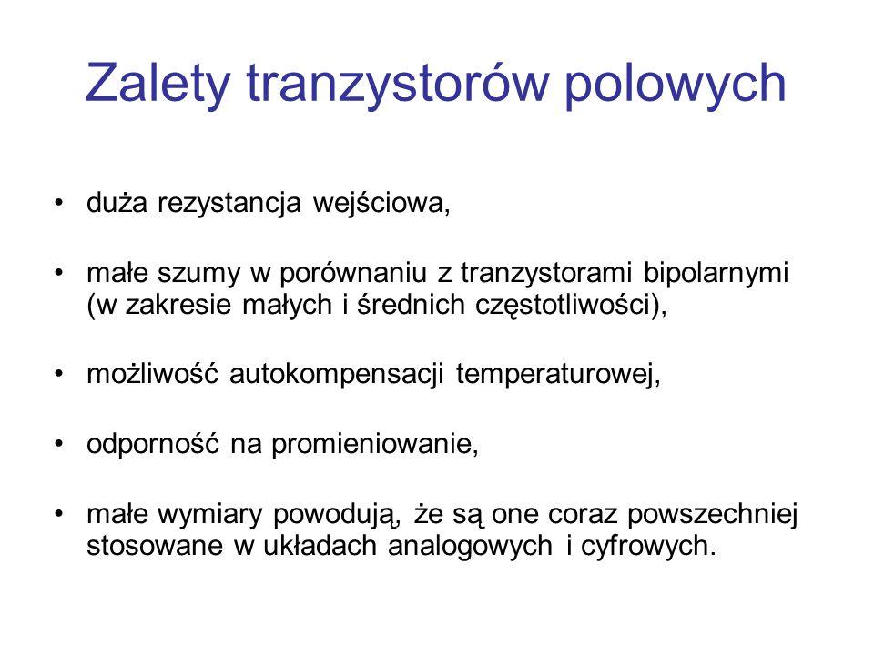 Zalety tranzystorów polowych duża rezystancja wejściowa, małe szumy w porównaniu z tranzystorami bipolarnymi (w zakresie małych i średnich częstotliwo