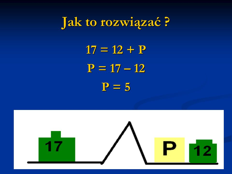 Jak to rozwiązać ? 17 = 12 + P P = 17 – 12 P = 5