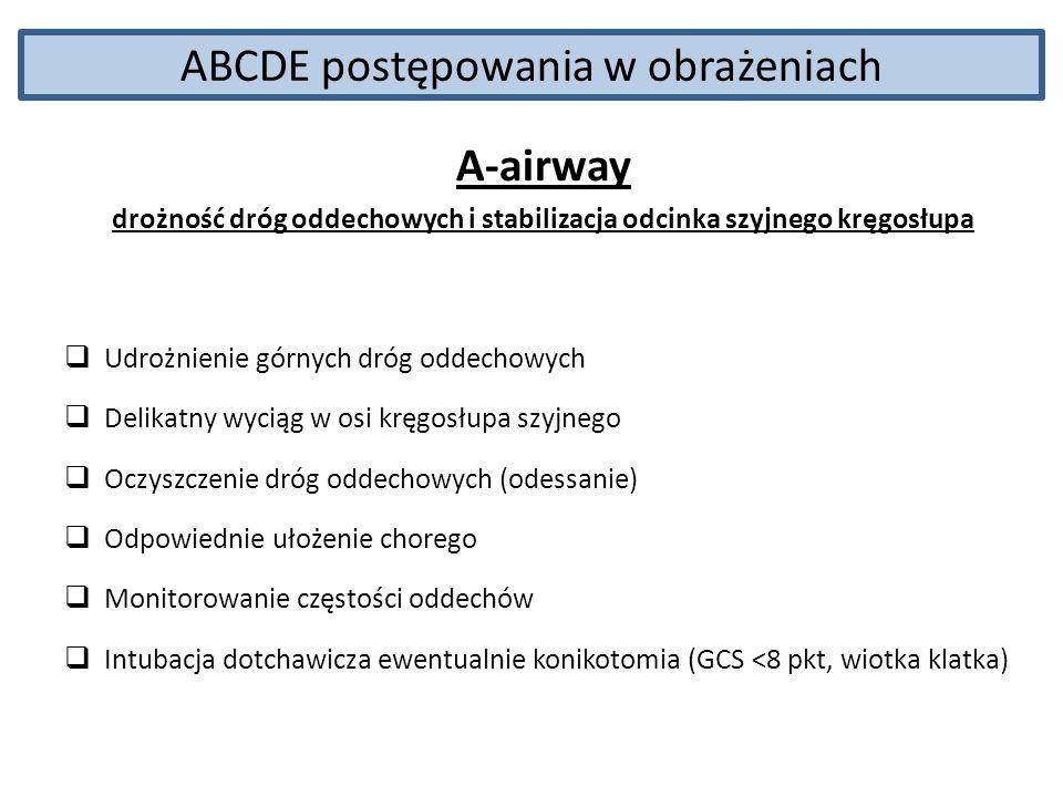 ABCDE postępowania w obrażeniach A-airway drożność dróg oddechowych i stabilizacja odcinka szyjnego kręgosłupa Udrożnienie górnych dróg oddechowych De
