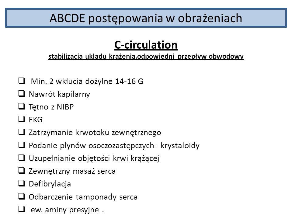 ABCDE postępowania w obrażeniach C-circulation stabilizacja układu krążenia,odpowiedni przepływ obwodowy Min. 2 wkłucia dożylne 14-16 G Nawrót kapilar