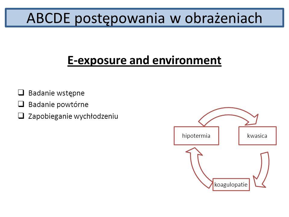 ABCDE postępowania w obrażeniach E-exposure and environment Badanie wstępne Badanie powtórne Zapobieganie wychłodzeniu kwasica koagulopatie hipotermia