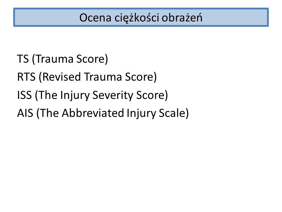 Ocena ciężkości obrażeń TS (Trauma Score) RTS (Revised Trauma Score) ISS (The Injury Severity Score) AIS (The Abbreviated Injury Scale)