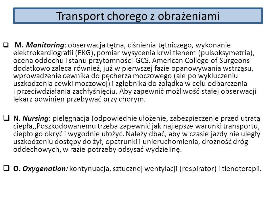 Transport chorego z obrażeniami M. Monitoring: obserwacja tętna, ciśnienia tętniczego, wykonanie elektrokardiografii (EKG), pomiar wysycenia krwi tlen