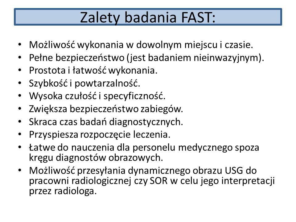 Zalety badania FAST: Możliwość wykonania w dowolnym miejscu i czasie. Pełne bezpieczeństwo (jest badaniem nieinwazyjnym). Prostota i łatwość wykonania
