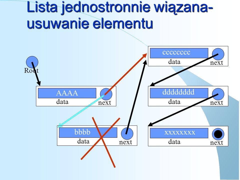 data next Lista jednostronnie wiązana- dodawanie elementu data next data next data next Root AAAA data next bbbb dddddddd xxxxxxxx cccccccc