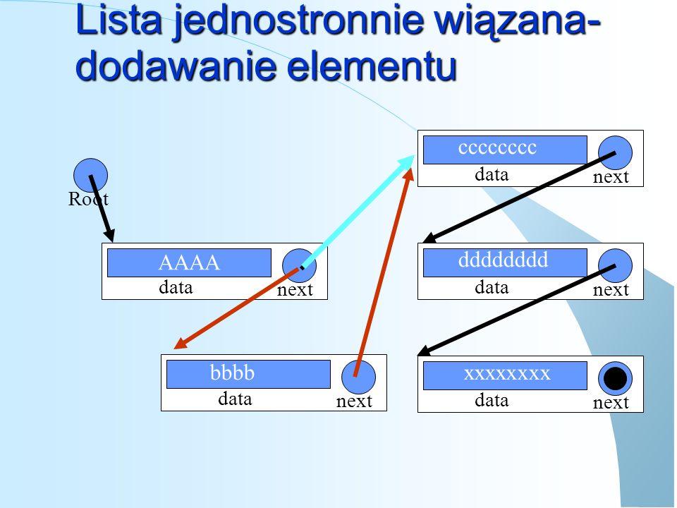 Lista jednostronnie wiązana def FindNode(lista,dataPattern): tmp = list while tmp != None: if tmp.data == dataPattern : return tmp return None def GetAt(lista,pos): #funkcja zwraca element na pozycji pos liczac od 0 #jesli nie ma tyulu elementow zwraca None tmp = list while tmp != None: if pos == 0 : return tmp pos = pos - 1 return None