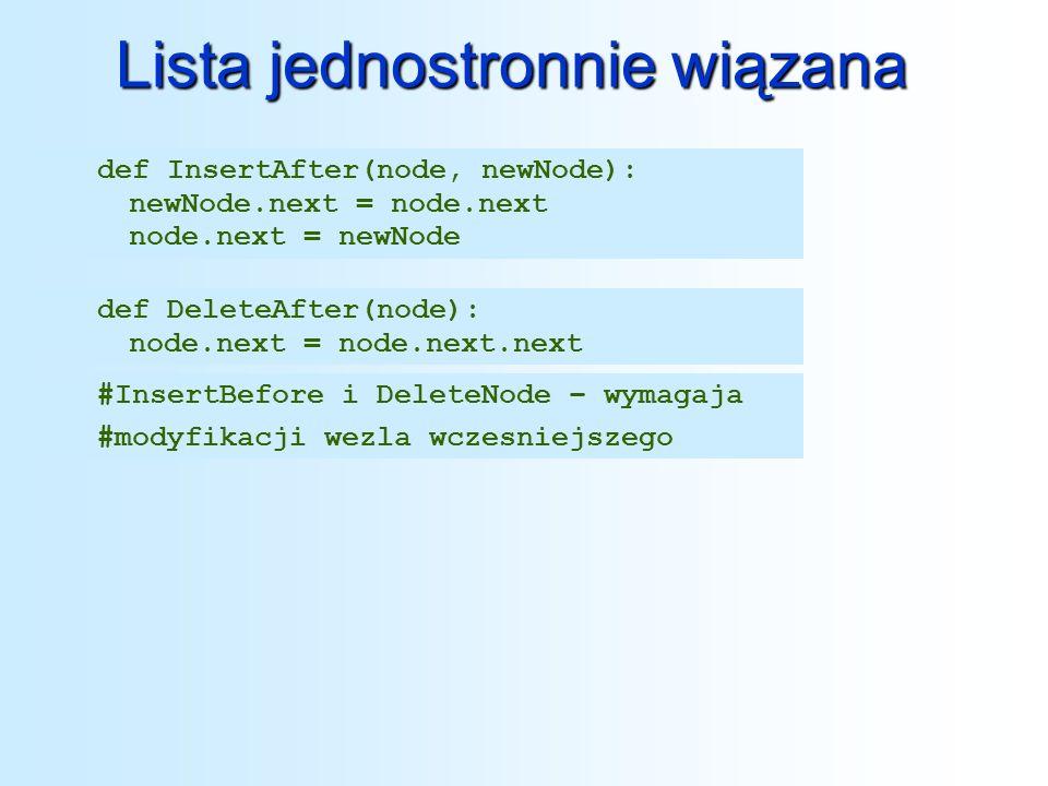 Lista jednostronnie wiązana def InsertBeforeNode(lista,newNode,dataPattern): if list== None : return list elif list.next== None : if list.data!=dataPattern: return list else: newNode.next = list return newNode else: tmp = list while tmp.next != None : if tmp.next.data == datPattern : newNode = tmp.next tmp.next = newNode break return list