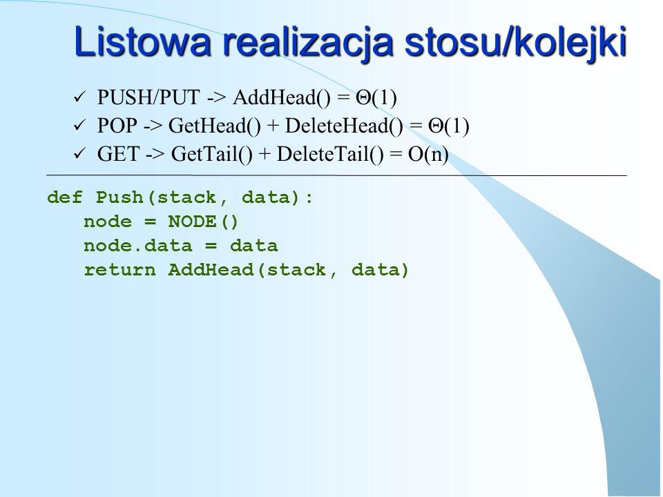Listowa realizacja kolejki/stosu def Pop(stack): ret = GetHead(stack) if ret== None : ERROR Stos jest pusty else: return (DeleteHead(stack), ret.data) def Get(stack): ret = GetTail(stack) if ret== None : ERROR Stos jest pusty else: return (DeleteTail(stack), ret.data) Użycie: stack,value = pop(stack)