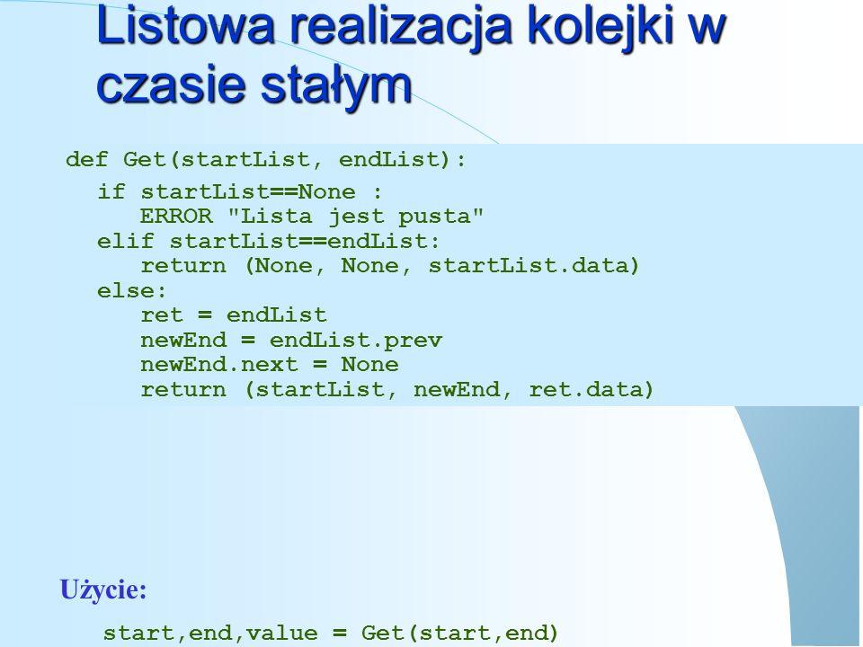 Lista cykliczna (jednostronna) pWrite bbbb data next Aaaa data next BBBBBBB data next CCCCCCCC data next XXXXXXXX pRead Root