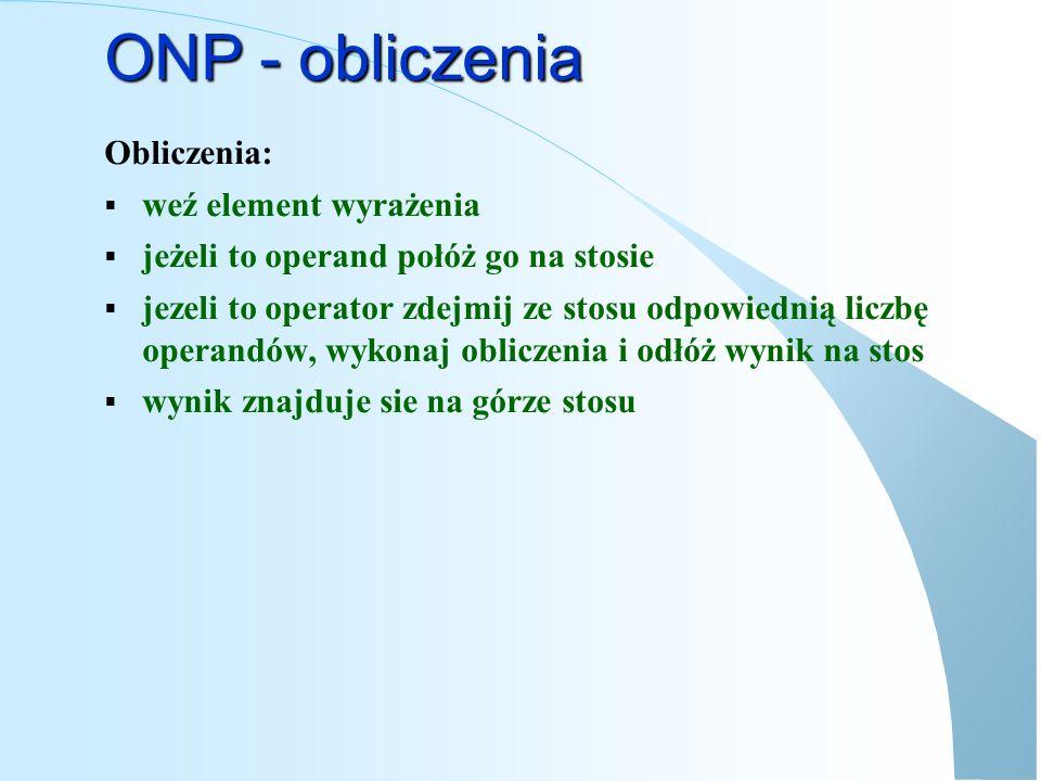 ONP – przykład obliczeń WejścieBieżącyStos po b.
