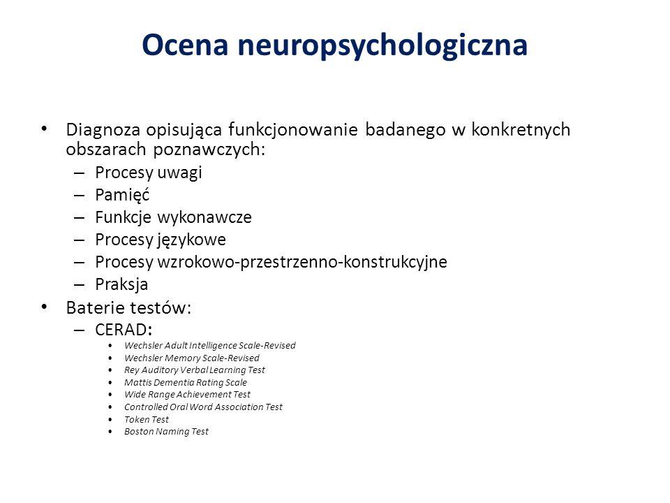 Ocena neuropsychologiczna Diagnoza opisująca funkcjonowanie badanego w konkretnych obszarach poznawczych: – Procesy uwagi – Pamięć – Funkcje wykonawcz