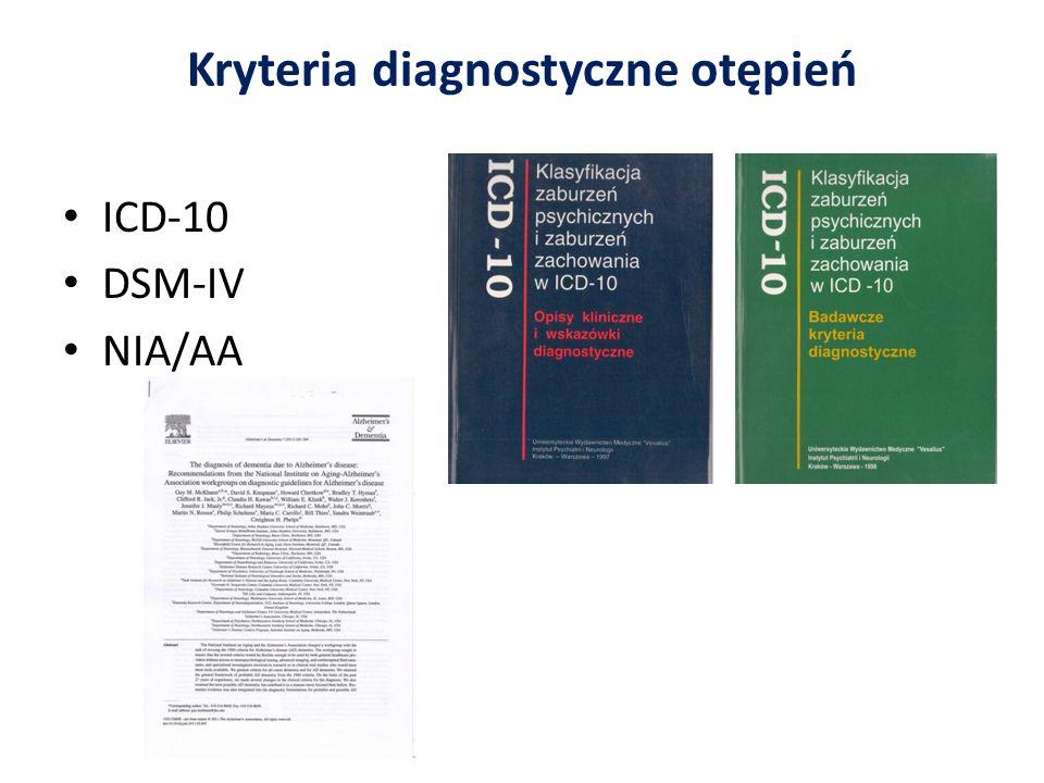 Kryteria diagnostyczne otępień ICD-10 DSM-IV NIA/AA