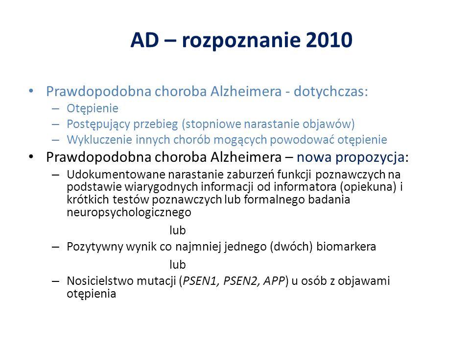 AD – rozpoznanie 2010 Prawdopodobna choroba Alzheimera - dotychczas: – Otępienie – Postępujący przebieg (stopniowe narastanie objawów) – Wykluczenie i
