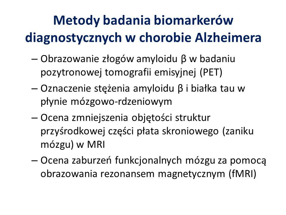 Metody badania biomarkerów diagnostycznych w chorobie Alzheimera – Obrazowanie złogów amyloidu β w badaniu pozytronowej tomografii emisyjnej (PET) – O