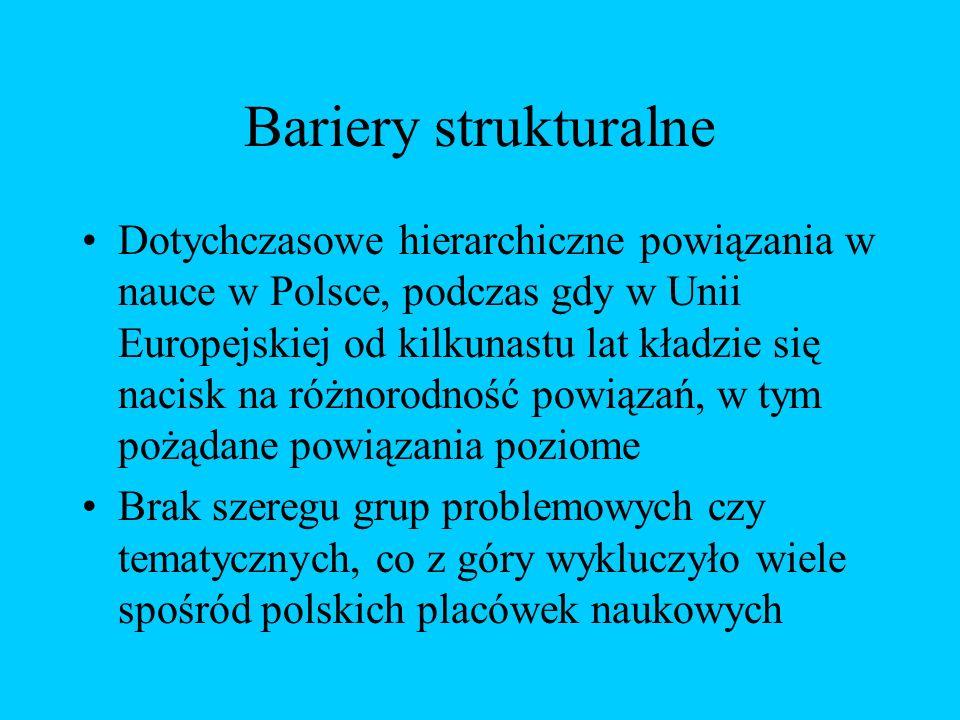 Bariery strukturalne Dotychczasowe hierarchiczne powiązania w nauce w Polsce, podczas gdy w Unii Europejskiej od kilkunastu lat kładzie się nacisk na różnorodność powiązań, w tym pożądane powiązania poziome Brak szeregu grup problemowych czy tematycznych, co z góry wykluczyło wiele spośród polskich placówek naukowych