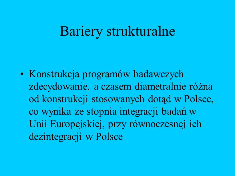 Bariery strukturalne Konstrukcja programów badawczych zdecydowanie, a czasem diametralnie różna od konstrukcji stosowanych dotąd w Polsce, co wynika ze stopnia integracji badań w Unii Europejskiej, przy równoczesnej ich dezintegracji w Polsce