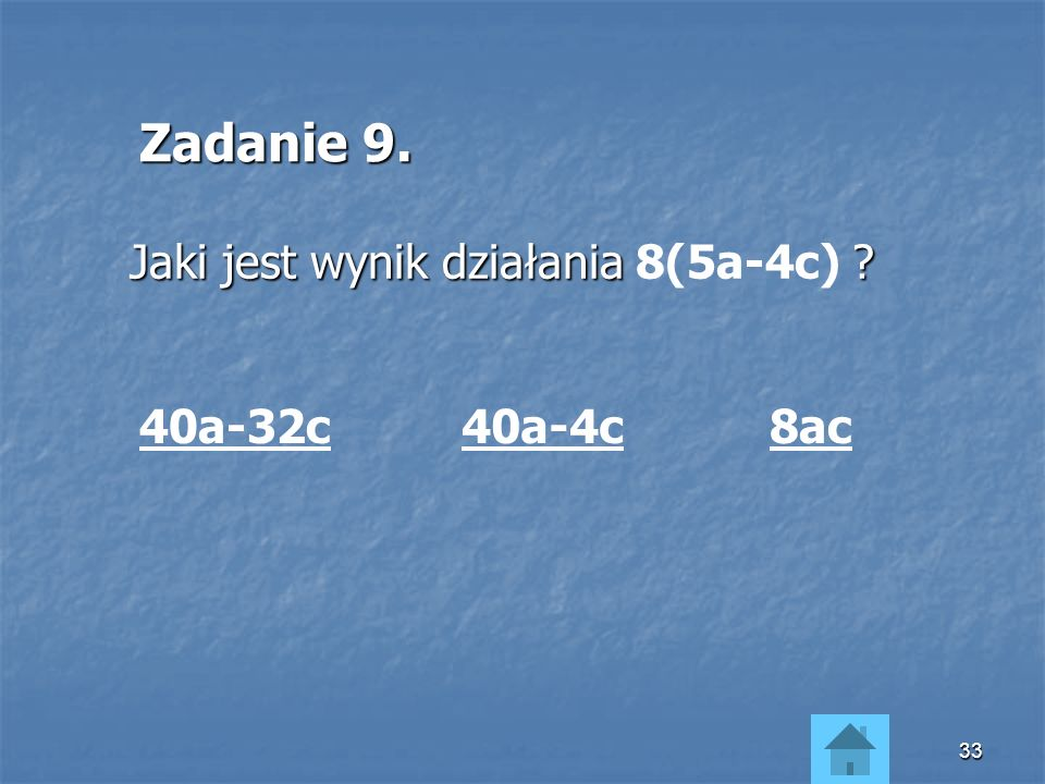 32 Wyrazy podobne sumy algebraicznej możemy dodawać i odejmować, stosując te same zasady, które obowiązują przy dodawaniu i odejmowaniu liczb.