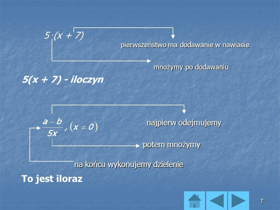 17 Dodawanie sum algebraicznych: (7x-5y+4)+(-3y-2x+5)= Odejmowanie sum algebraicznych: (7x-5y+4)-(-3y-2x+5)= +1.