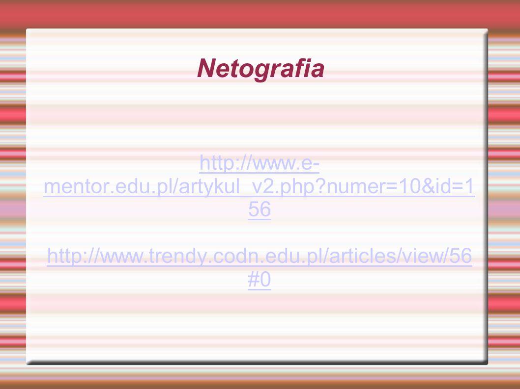 Netografia http://www.e- mentor.edu.pl/artykul_v2.php?numer=10&id=1 56 http://www.trendy.codn.edu.pl/articles/view/56 #0