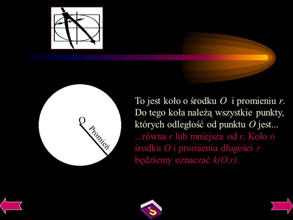 Promień O To jest koło o środku O i promieniu r.