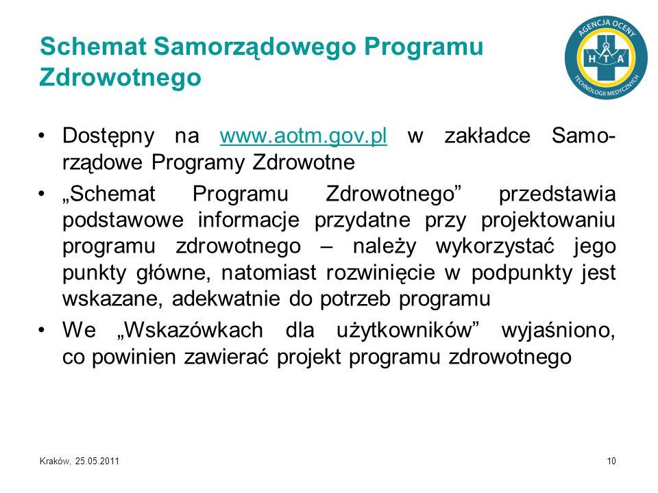 Kraków, 25.05.2011 10 Schemat Samorządowego Programu Zdrowotnego Dostępny na www.aotm.gov.pl w zakładce Samo- rządowe Programy Zdrowotnewww.aotm.gov.p