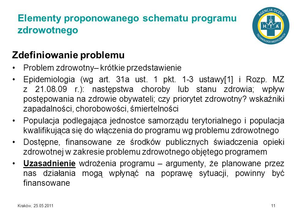 Kraków, 25.05.2011 11 Elementy proponowanego schematu programu zdrowotnego Zdefiniowanie problemu Problem zdrowotny– krótkie przedstawienie Epidemiolo