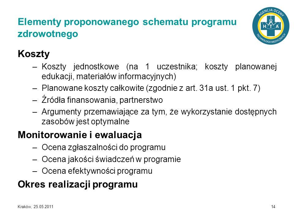 Kraków, 25.05.2011 14 Koszty –Koszty jednostkowe (na 1 uczestnika; koszty planowanej edukacji, materiałów informacyjnych) –Planowane koszty całkowite