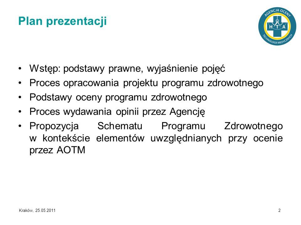 Kraków, 25.05.2011 2 Plan prezentacji Wstęp: podstawy prawne, wyjaśnienie pojęć Proces opracowania projektu programu zdrowotnego Podstawy oceny progra