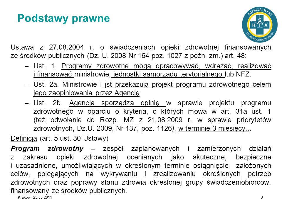 Kraków, 25.05.2011 3 Podstawy prawne Ustawa z 27.08.2004 r. o świadczeniach opieki zdrowotnej finansowanych ze środków publicznych (Dz. U. 2008 Nr 164