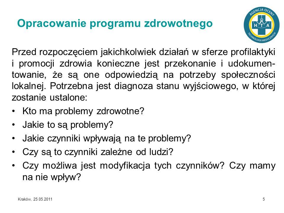 Kraków, 25.05.2011 5 Opracowanie programu zdrowotnego Przed rozpoczęciem jakichkolwiek działań w sferze profilaktyki i promocji zdrowia konieczne jest