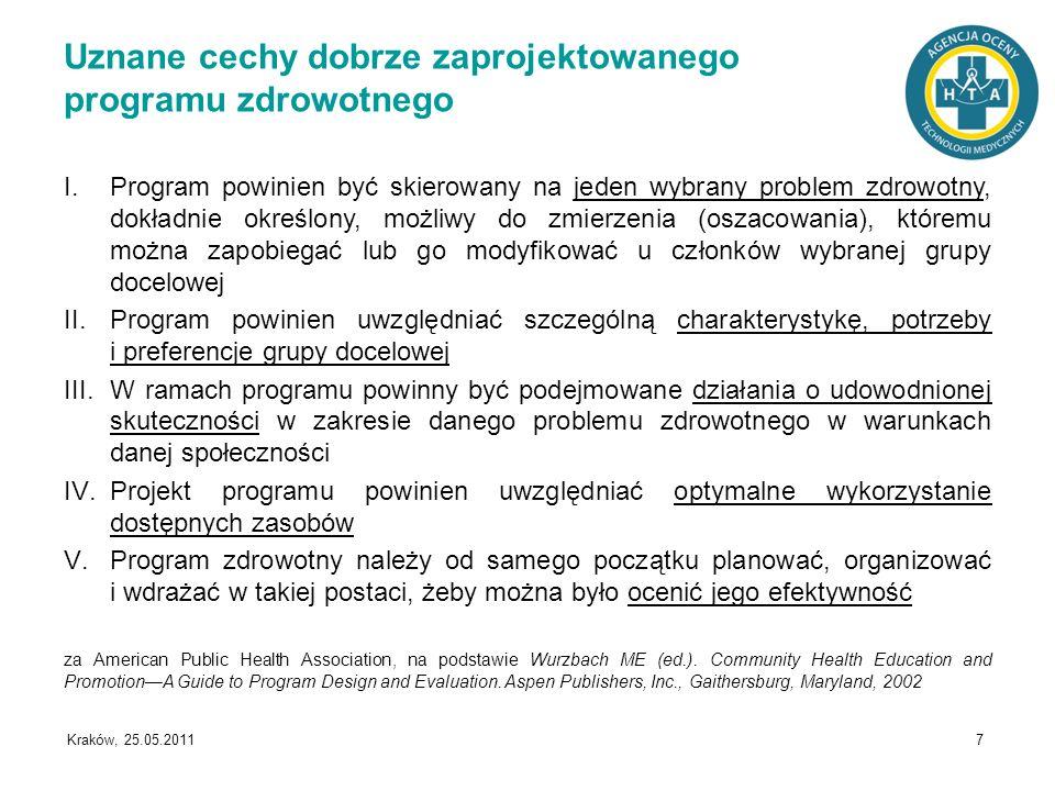 Kraków, 25.05.2011 7 Uznane cechy dobrze zaprojektowanego programu zdrowotnego I.Program powinien być skierowany na jeden wybrany problem zdrowotny, d